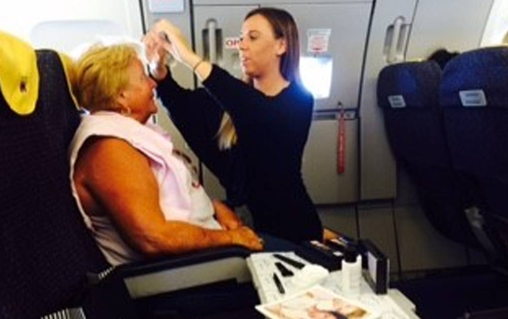 Doing eyebrows on a plane