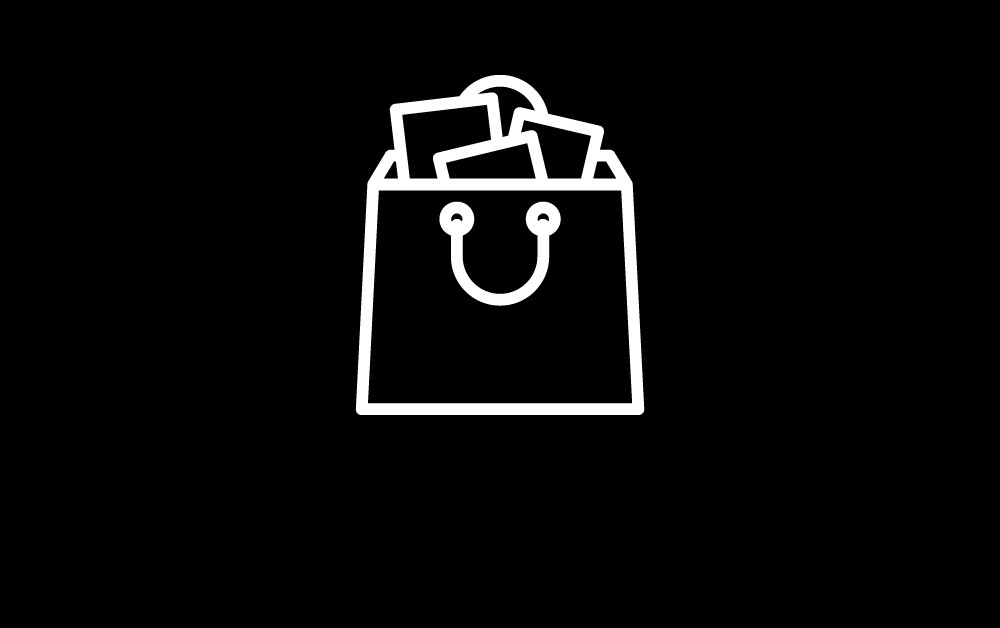 Black and white icon of a shopping bag