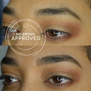Brow extensions close up before and after image