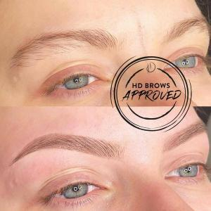 Before and after HD Brows treatment