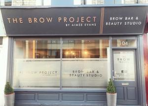 Outside of Aimee's salon The Brow Project