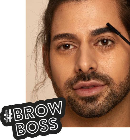 Man applying eyebrow gel, #BrowBoss text