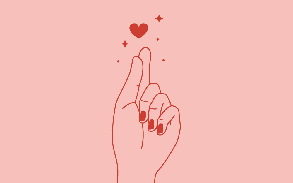 Icon image of hand clicking fingers with hearts and sparkles