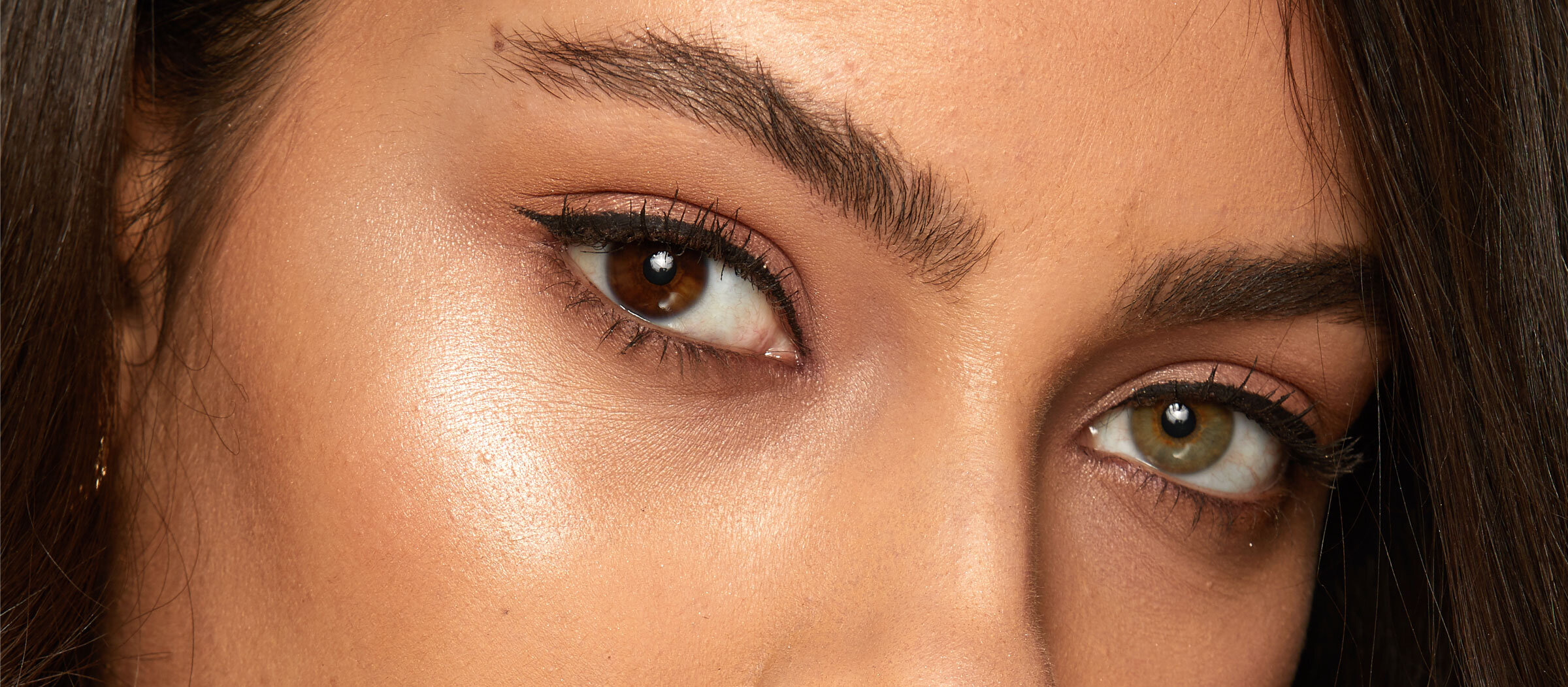Close up image of model's eyebrows and eyes