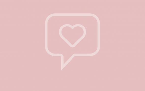 Icon of heart in a speech bubble