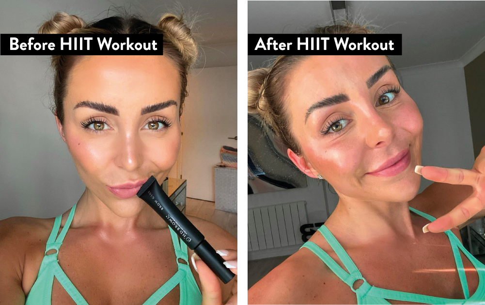 Courtney Black wearing Brow Glue before and after a HIIT workout